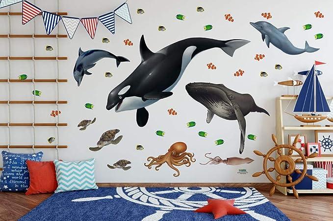Kids Wallpaper Kids Wall Mural Ocean Adventure Kids Mural Self-Adhesive Wallpaper Nursery Childrens Mural Childrens Wallpaper
