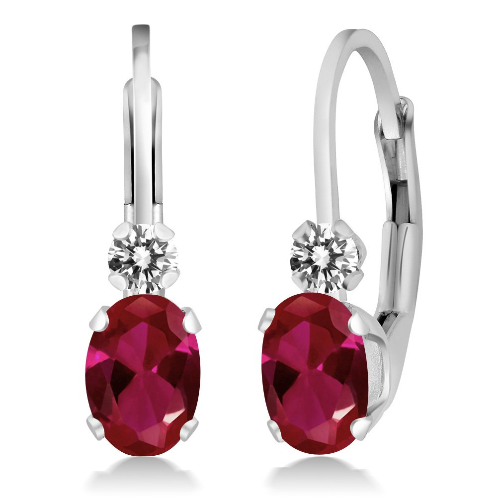 1.43 Ct Oval Red Ruby White Diamond 925 Sterling Silver Leverback Earrings