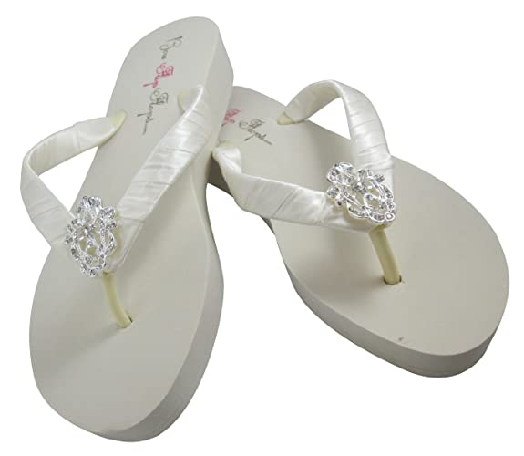 4aa1aed236bd9 Amazon.com: Vintage Lace Low Ivory or White Wedge Bridal Flip Flops ...