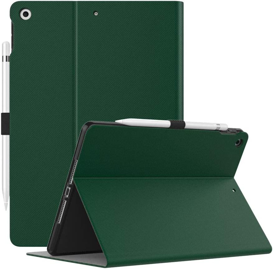 Dadanism Case Fit iPad 8th Generation Case 2020/iPad 7th Generation Case 2019 [Multi-Angle Viewing Stand] Slim Shock Proof Protective Cover with Soft TPU Back, Fit iPad 10.2 inch 2020/2019, Dark Green