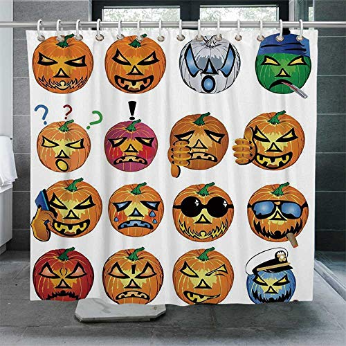 ALUONI Halloween Decorations Ultra Soft Shower Curtain,Carved Pumpkin with Emoji Faces Halloween Humor Hipster Monsters Art Bathroom Curtain with Hooks,70.8