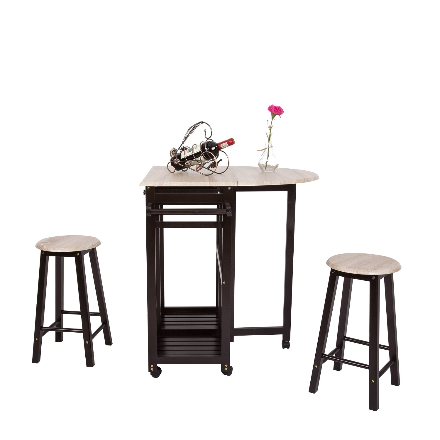 3PCS Dinning Set Table Rolling Kitchen Island Trolley Cart Set Breakfast Bar Cart Drop-Leaf Folding Table w/2 Stools and 2 Drawers Guangbo
