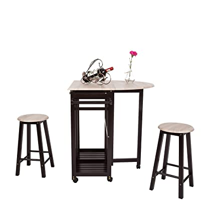 Amazon.com - 3PCS Dinning Set Table Rolling Kitchen Island ...
