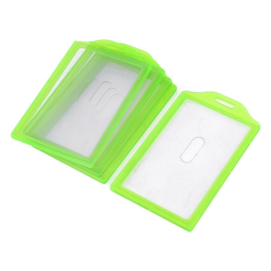 Uxcell Plastic Frame School Slide ID Card Holder, 84 x 52 mm, 5-Piece, Green