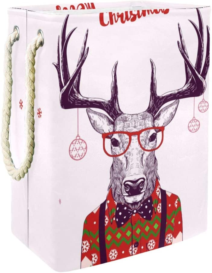 Unicey Christmas Card with Nerd Hipster Deer Large Storage Bin for Bathroom, Bedroom, Home, Toys and Clothing Organization