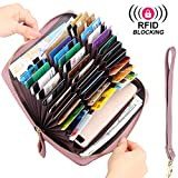 RFID Blocking Wallet Long Zip Around Anti Theft Purse, 36 Slots Large Capacity for Credit Card, Passport, Cell phone … (Embossed Mauve)