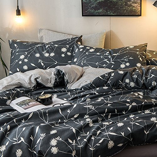 MKXI Duvet Cover Set Garden Style Bedding Set Queen White Floral Pattern Moire Reversible Cotton Bedroom - Flowers White Collection Black Tie