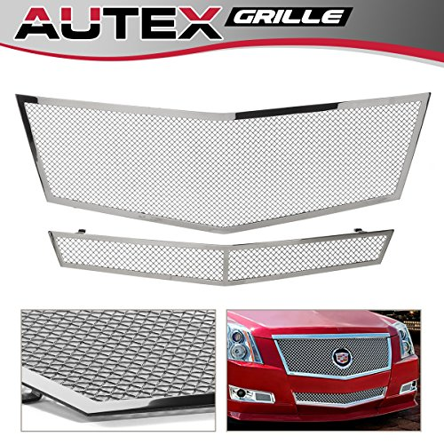 Mesh Grille Lower (AUTEX Chrome Polished Stainless Steel Upper + Lower Bumper Mesh Grille Combo Insert Compatible With 2008-2013 Cadillac CTS Grill A77768T)