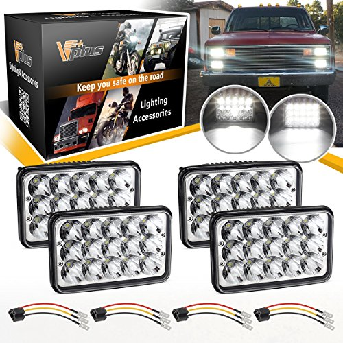 Vplus 6x4 LED Headlights 4x6 Rectangular Sealed Beam Assembly High/Low Beam H4651 H4652 H4656 H4666 Peterbilt 379 Chevy K10 K20 W3500 Express Van RV Camper w/ H4 9003 Wire Harness Socket (Pack of 4)