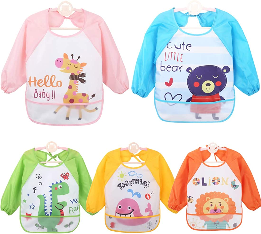 HaimoBurg 5 Pcs Long Sleeved Baby Bibs Waterproof Sleeved Bib 9-36 Months