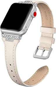 SWEES Genuine Leather Band Compatible with iWatch 38mm 40mm, Leather Slim Thin Bling Dressy Design Diamond Strap Compatible with iWatch Series 6, 5, 4, 3, 2, 1, SE, Sport & Edition Women, Beige