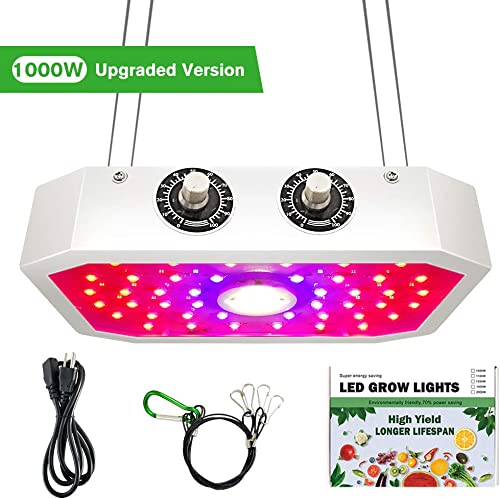 1000W LED Grow Light, COB Full Spectrum LED Grow Light with UV IR Dual Chips for Greenhouse Indoor Plant Veg and Flower, Adjustable Vegetable and Bloom Dual Switch