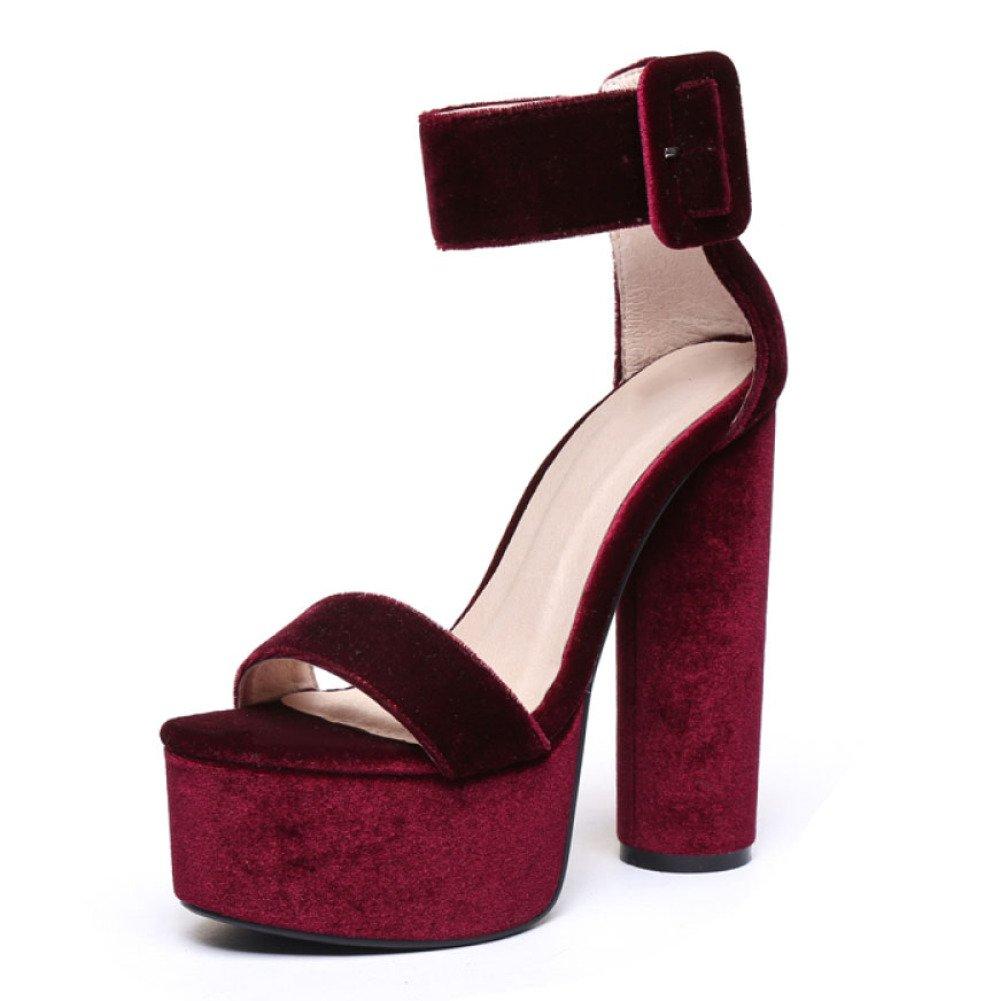 Botines De Gamuza De Gamuza De Gamuza De Las Mujeres Zapatos De Noche Plataforma De Tacón Grueso Mostrar Zapatos De Marea Sandalias 37 EU|Rojo