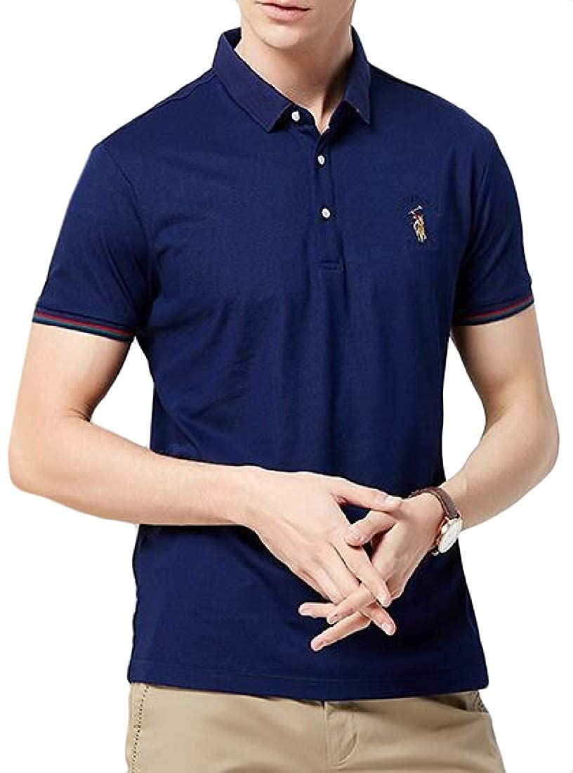 Pluszing Mens Polos Shirt Solid Short Sleeve Summer Business Top T-Shirts