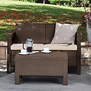 Keter Corfu 4 Piece Set All Weather Outdoor Patio Garden Furniture w/ Cushions, Charcoal from Keter