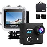 WiMiUS Action Camera 4K 20MP WiFi Sports Camera Ultra HD Waterproof Underwater Cam 30M 170 Degree Wide-Angle WiFi Sports Cam with EIS Anti-Shake Plus 2 Batteries & Mounting Accessories Kit,L1 Black
