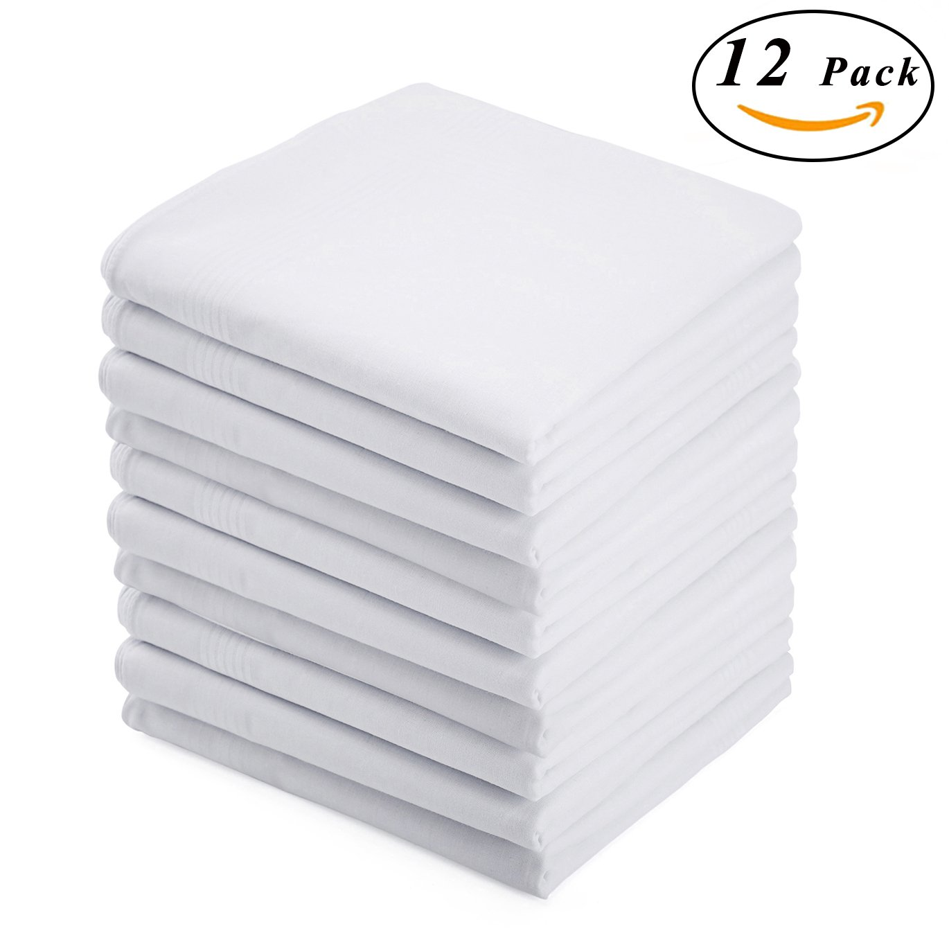 BoosKey Handkerchiefs Mens Cotton Soft, White Hankies Large and Absorbent for Men - 12 Pack by BoosKey (Image #1)
