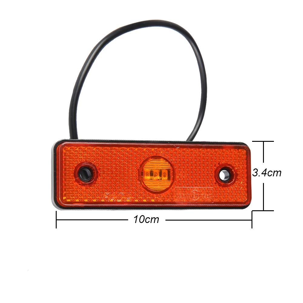 orange AOHEWEI 4 Pi/èces LED Lat/éral /Éclairage Feux de Gabarit Indicateur de Position lampe Avant Arri/ère Ampoules rouges/Pour Camion Remorque Van Caravane RV ou Bateau 24V