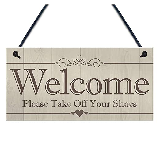 Cartel de bienvenida de madera para colgar en la puerta ...