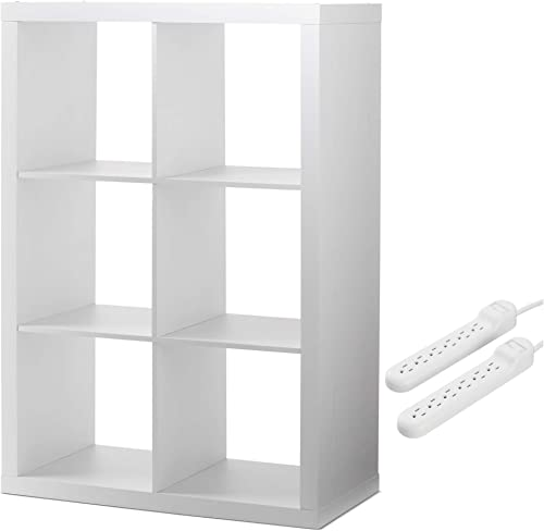 Better Homes and Gardens Home Office Furniture Cube Organizer Storage Bookcase Bookshelf and 2-Pack 6-Outlet Surge Protector Bundle