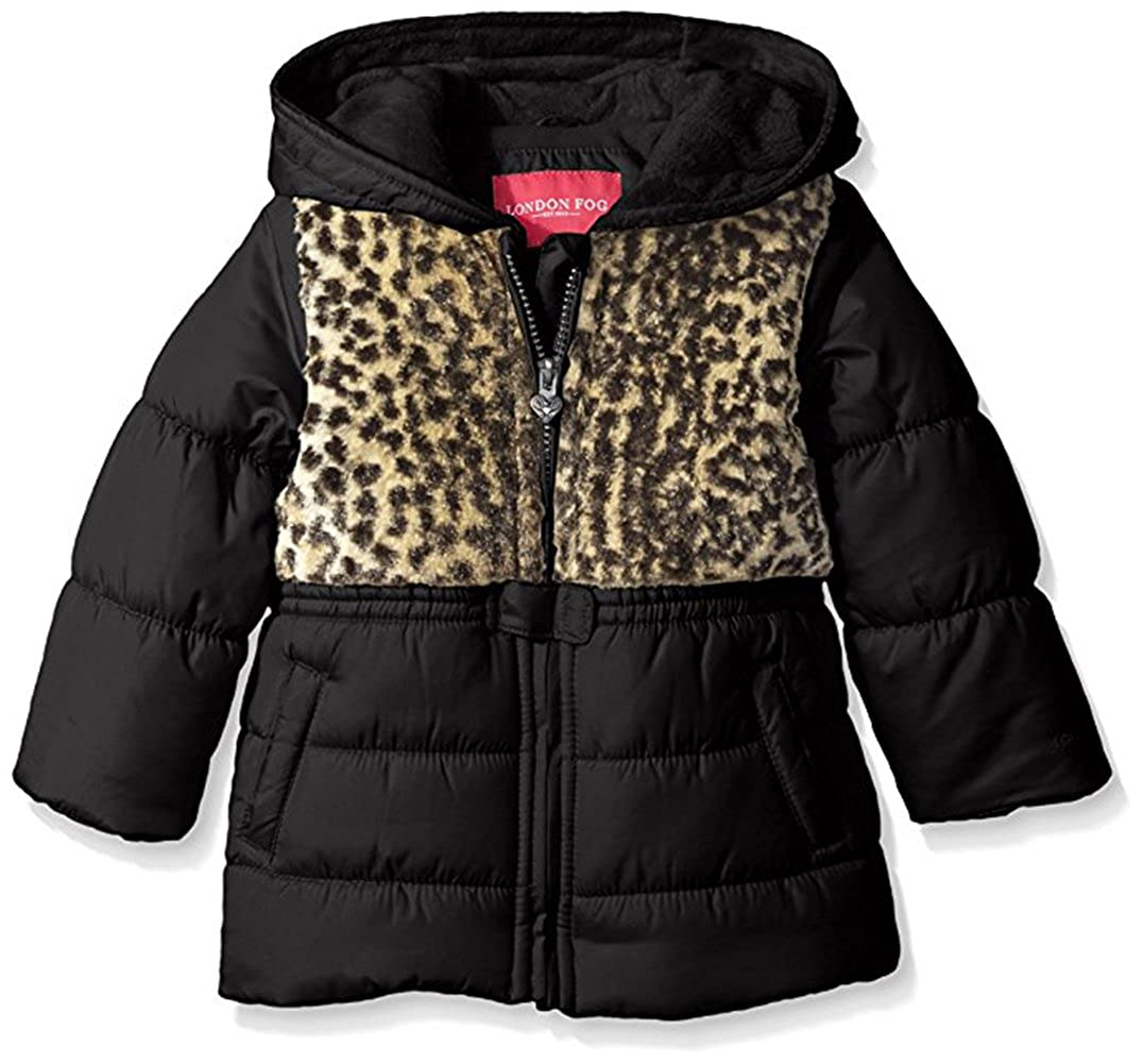 London Fog Baby Girls' Leopard Chest Insulated Jacket