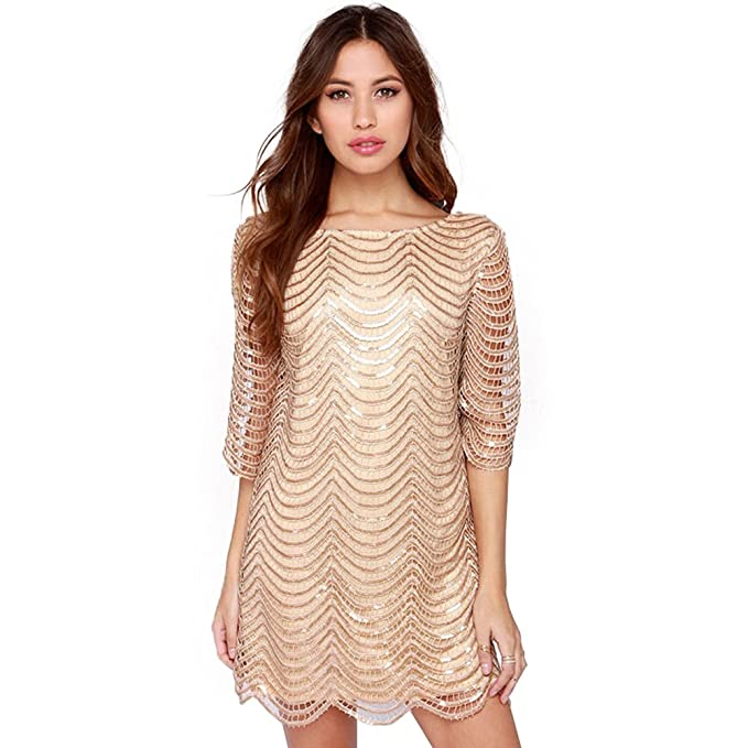 Deargles Womens Dress in Sequins Short Sleeves SS16001 Gold 2