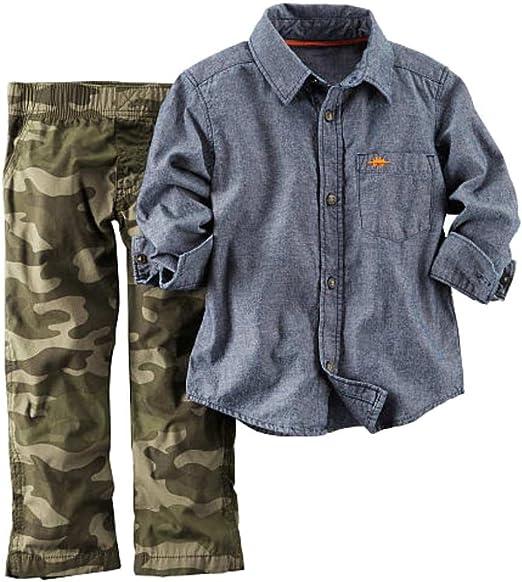 Carters Infant Boys 2 Piece Outfit Green Camo Pants /& Blue Denim Shirt Set