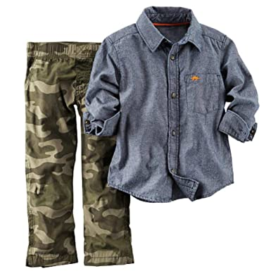 Amazon.com: Carters Infant Boys 2 Piece Outfit Green Camo Pants ...