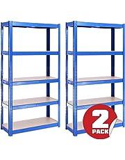 2 Bay 150cm x 75cm x 30cm, Blue 5 Tier (175KG Per Shelf), 875KG Capacity Garage Shed Storage Shelving Units, 5 Year Warranty
