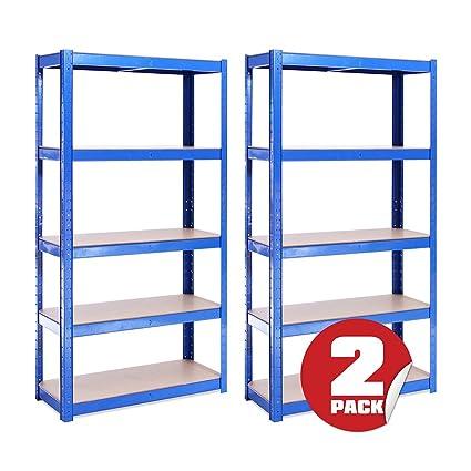 Scaffali X Garage.G Rack 0020 Scaffale Per Garage Scaffalatura 5 175kg A Ripiano Capacita Di Carico 875kg Robusto Resistente E Forte Blue 150cm X 75cm X