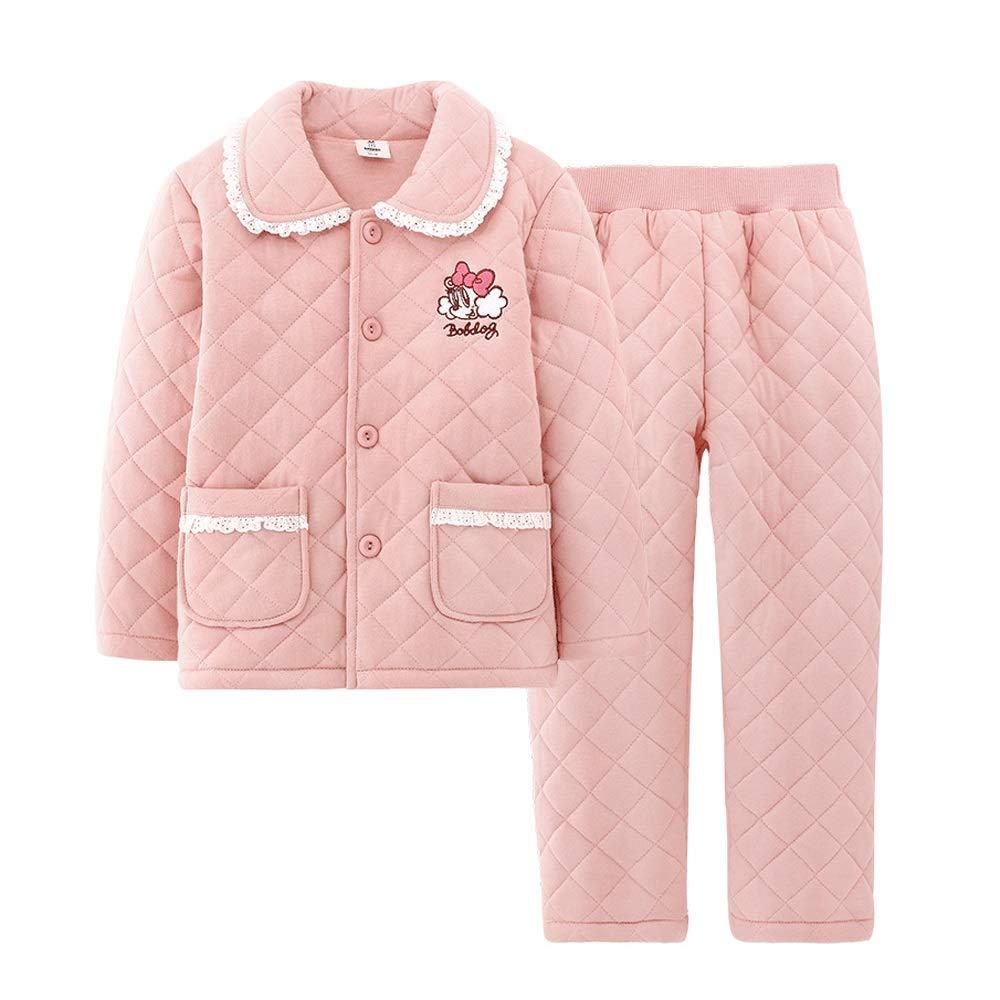 Rose 120cm HUACANG Pyjamas Amples pour Enfants Ensemble De Pyjama Chaud en Tissu Doux pour Le Coton Applicable Aux Garçons Et Aux Filles Hauteur Applicable 110cm-150cm (Couleur   Rose, Taille   130cm)