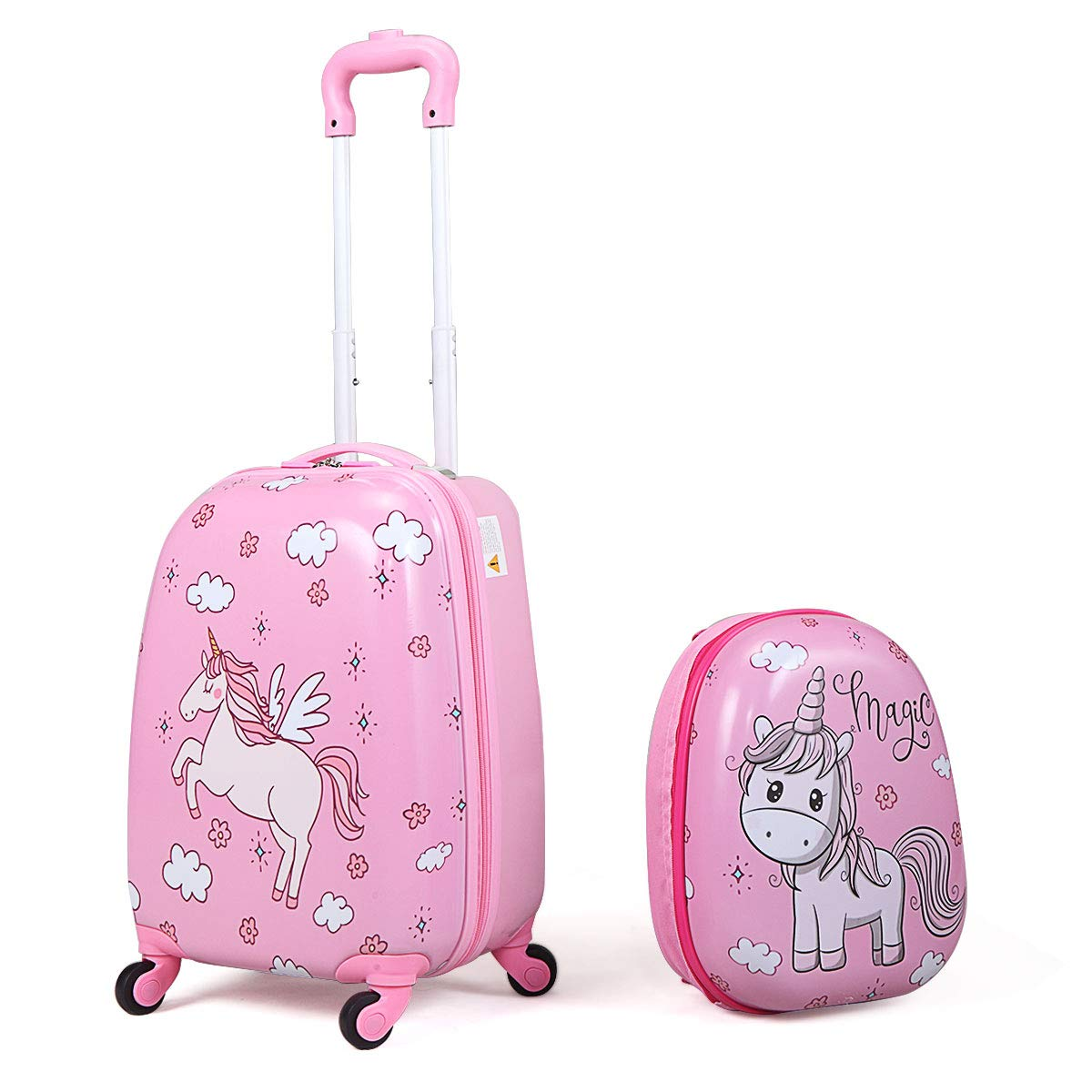 JAXPETY 2Pc 12'' 16'' Kids Carry On Luggage Set Upright Hard Side Hard Shell Suitcase School Bag Pink by JAXPETY