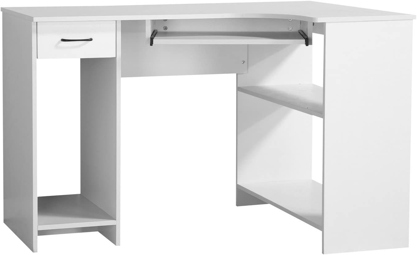 Homcom Computer Pc Corner Desk Home Office Table Furniture Workstation With Storage Drawer Shelf White Colour Amazon Co Uk Garden Outdoors