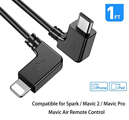 RCstyle Spark OTG Cable for IPhone To Micro USB Cable Cord Perfect Size  Right Angle Nylon Adapter Compatible with DJI Mavic 2 Pro/Zoom / Mavic  Air/Pro