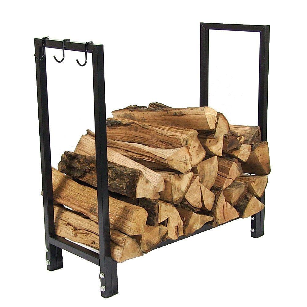 Sunnydaze 30 Inch Indoor/Outdoor Black Steel Firewood Log Holder
