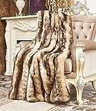 Lindsey Home Fashion Faux Fur Throw, Fur Blankets Super Soft Japanese Kanekalon Fiber, Sheepskin, Mink, Wolf, Bear, 60'x80', 60'x70', 50'x60' 14 Colors (60x70(INCH), Brown Lynx Faux Fur)