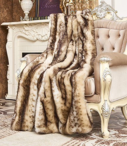 Lynx Throw - Lindsey Home Fashion Faux Fur Throw, Fur Blankets Super Soft Japanese Kanekalon Fiber, Sheepskin, Mink, Wolf, Bear, 60