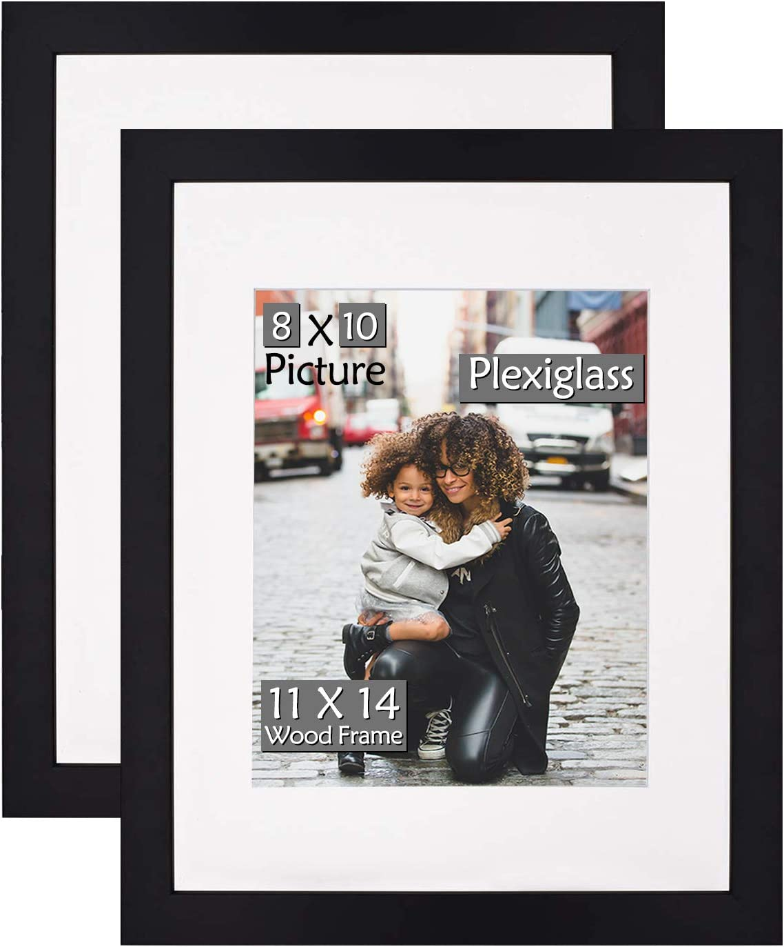 Single Picture Framing Mat 11x14 for 8x10 and 2 sports cards-black color
