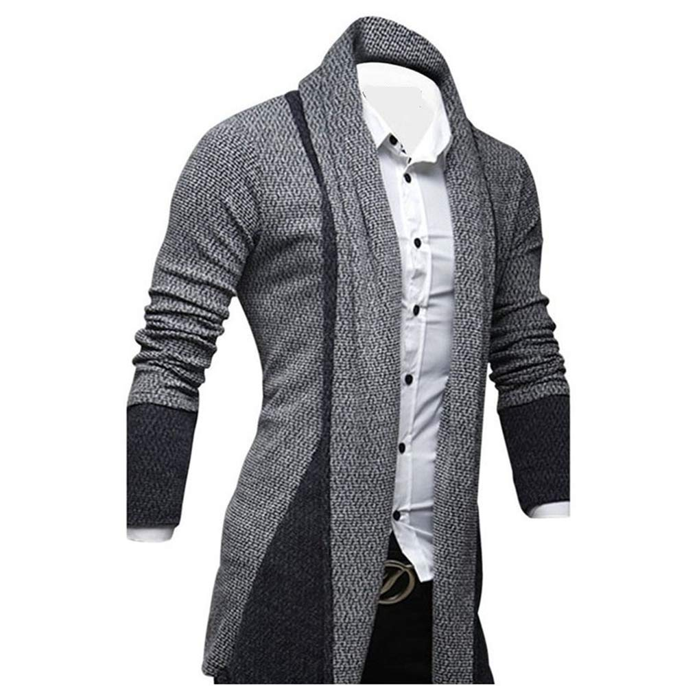 ZFADDS Mens Black Gray Knitted Male Casual Patchwork Design Black Sudadera