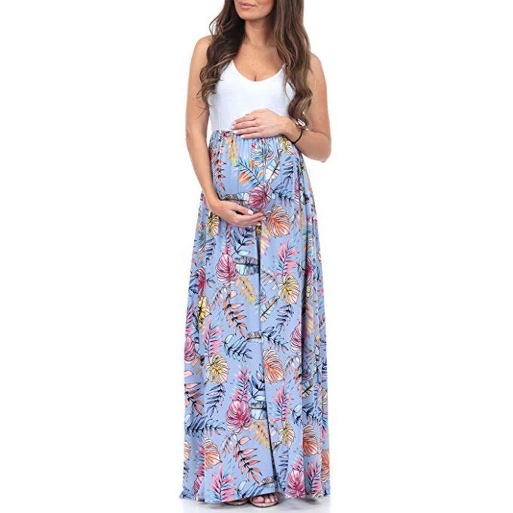 Daringjourney Las Mujeres Embarazadas de Estilo Nacional Vestido de Costura sin Mangas de Verano Vestido Fresco Casual Vestido Suelto de premam/á
