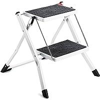 Delxo Escalera de escalón plegable ligera blanca con escalera antideslizante resistente y amplia pedal de acero