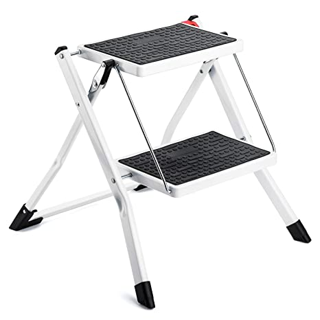 Wondrous Acko Step Stool 2 Step Ladder Lightweight White Folding Step Ladder With Anti Slip Sturdy And Wide Pedal Steel Ladder Mini Stool 250Lbs 2 Feet Ibusinesslaw Wood Chair Design Ideas Ibusinesslaworg