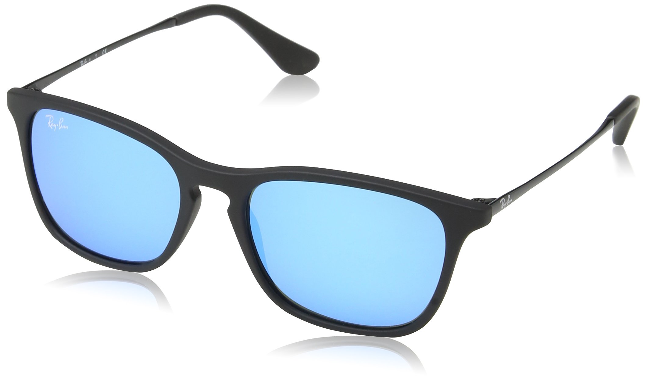 RAY-BAN JUNIOR Kids' RJ9061S Chris Kids Rectangular Sunglasses, Rubber Black/Light Green Mirror Blue, 49 mm by RAY-BAN JUNIOR