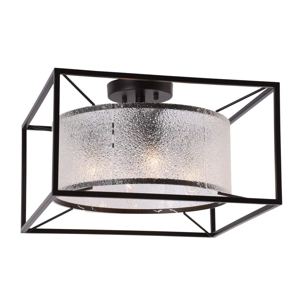 Alice House 天井ライト 16.5インチ 4ライト セミフラッシュマウント ブラウン仕上げ ダイヤモンドガラス 照明器具 キッチン ダイニングルーム 玄関 寝室 廊下 AL8061-S4 B07H6JXGPL