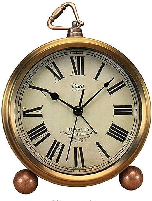 SHIERDIAN Clásico Reloj Retro, Mesa Dorada Reloj Despertador ...
