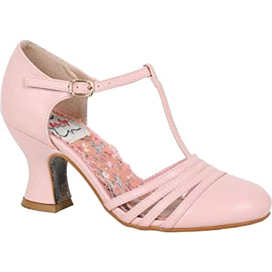 cheap for discount fcb0e ba9f5 Amazon.com  Bettie Page Shoes Lucy T-Strap Heel Pink Retro Rockabilly  Vintage Pin Up  Shoes