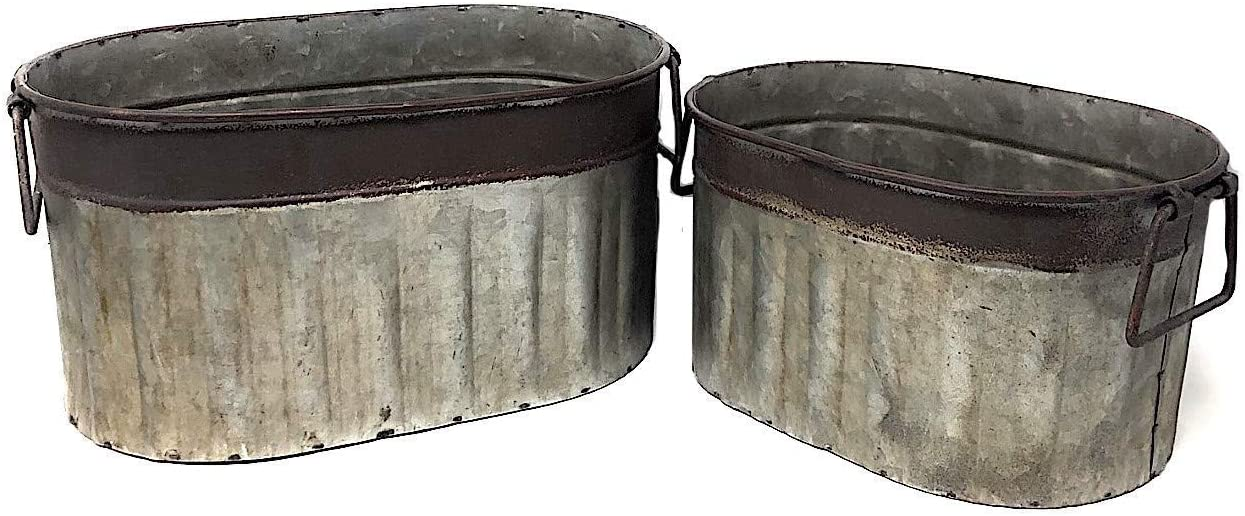 "RAZ Imports Decorative Metal Containers Distressed Tub Bucket Kitchen Pantry Bathroom Garden Organizer Flowers Plants Tools Indoor or Outdoor 12.5"" & 11"" (Set of 2)"