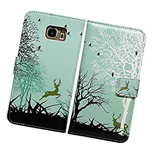 Fabcov Packing Bcov Green Deer Black Birds Leather Wallet Cover Case For Samsung Galaxy S4