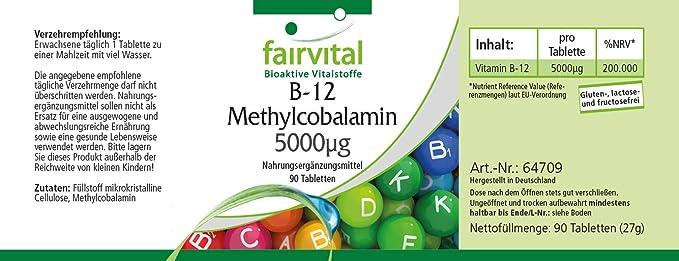 fairvital - 90 Comprimidos - Metilcobalamina B12 - Altamente concentrada (5000mcg) - ¡Calidad Alemana garantizada!: Amazon.es: Salud y cuidado personal