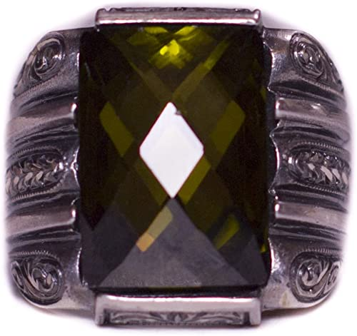 Steel Pen Craft Falcon Jewelry 925 Sterling Silver Men Ring Free Express Shipping Created Citrine Stone